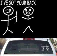 Funny Stick Figure Ive Got Your Back Rear Window Decal 8 X8 25 Rear Window Decals Funny Stick Figures Family Decals