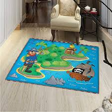 Amazon Com Island Map Small Rug Carpet Funny Cartoon Treasure Island A Pirate Ship Parrot Kids Play Room Door Mat Indoors Bathroom Mats Non Slip 2 X3 Multicolor Home Kitchen