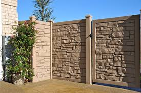 Brown Faux Stone Fence And Gate Panel Backyard Fences Front Yard Fence Fence Design