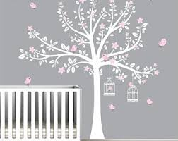 Baby Girl Tree Wall Decals Nursery Wall Decor Tree Wall Etsy