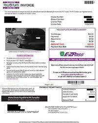 pa turnpike toll by plate sle invoice