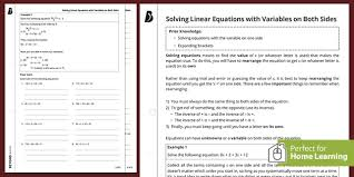 solving linear equations with variables