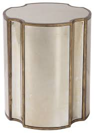 mirrored quatrefoil shaped accent table