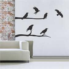 Crow Decal Stickers Halloween Decals Decoration Crows Wall And Window Self Adhesive Murals Raven Wall Decals Trendy Wall Designs