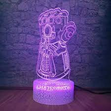 Amazon Com Big Villain Thanos Infinity Gauntlet Avengers Infinity War Thanos Gloves 3d Night Lights Led Colorful Changing Illusion Mood Light Creative Desk Lamp Kid New Year Christmas Teen Room Decor Home Improvement