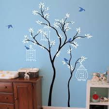 Thin Trees With Birdcages Wall Sticker Kids Room Wall Murals Tree Wall Decal Kids Room Wall Decor