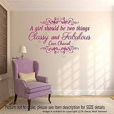 Amazon Com A Girl Should Be Two Things Classy And Fabulous Coco Chanel Quote For Girl S Removable Vinyl Wall Art Stickers Motivational Wall Art Decal Handmade