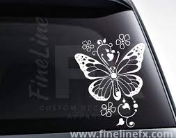 Butterfly With Hearts And Flowers Vinyl Decal Sticker