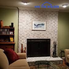 whitewash brick fireplace diy