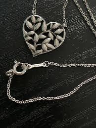 olive leaf heart pendant sterling