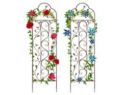 Best Choice Products Set Of Two 60x15in Iron Arched Garden Trellis Fence Panel W Branches Birds For Climbing Plants Newegg Com