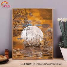 Tranh tự vẽ tự tô màu theo số sơn dầu số hóa Gam Tranh phong cảnh ...