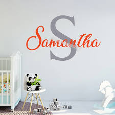 Personalized Custom Name Monogram Wall Stickers Artistic Font Cursive Name Decal Decor Kids Girl Bedroom Nursery Art Mural Eb588 Wall Stickers Aliexpress