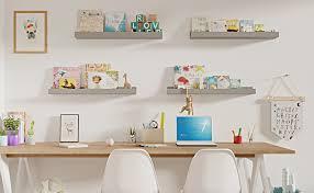 Amazon Com Wallniture Denver 34 Floating Shelves For Kids Toys Books Picture Frames Kids Room Decor Set Of 2 Gray Furniture Decor