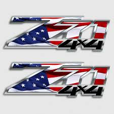 American Flag Silverado Z71 Truck Decal Set Chevy 4x4 Usa