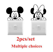 Super Sale 7ef7 Disney Mickey Minnie Mouse Vinyl Wall Sticker Cute Light Switch Sticker Home Decoration Accessories For Living Room Bedroom Cicig Co