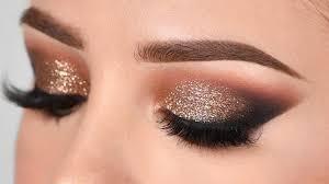 gold glitter smokey eye makeup tutorial