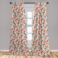 Amazon Com Ambesonne Geometric 2 Panel Curtain Set Raindrops Doodle Style Creative Leaf Shaped Colorful Girls Kids Baby Theme Lightweight Window Treatment Living Room Bedroom Decor 56 X 84 Teal Coral Home