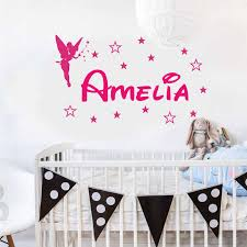 Personalized Girl Name Wall Decal Vinyl Home Decor Kids Room Nursery Wall Sticker Customized Girls Bedroom Name Angel Star 3n04 Aliexpress