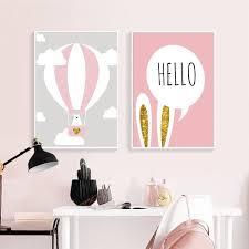 Baby Girl Nursery Wall Art Canvas Poster Print Pink Cartoon Rabbit Bal Sallyhomey Life S Beautiful