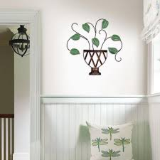 Fetco 23 In X 23 In Lillian Green Potted Plant Metal Wall Art Wa3729w The Home Depot
