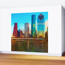 City Skyline Downtown Houston In Color 1x1 Wall Mural By Gregoryballosfineart Society6