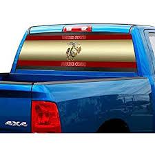 Amazon Com P478 Usmc Marines Tint Rear Window Decal Wrap Graphic Perforated See Through Universal Size 65 X 17 Fits Pickup Trucks F150 F250 Silverado Sierra Ram Tundra Ranger Colorado Tacoma 1500 2500