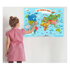 World Map Poster For Kids Educational Interactive Wall Map