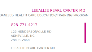 1013544071 NPI Number | LEEALLIE PEARL CARTER MD | ASHEVILLE, NC | NPI  Registry | Medical Coding Library | www.HIPAASpace.com © 2020
