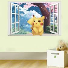 Pikachu Window Wall Stickers For Kids Rooms Home Decorations Pokemon Wall Decal Amination Poster Wall Art Wallpaper Buy At The Price Of 6 57 In Aliexpress Com Imall Com