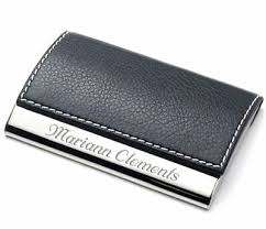 black leather business card