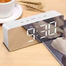 2019 digital snooze table clock mirror