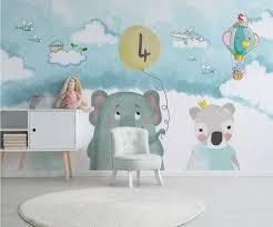 كارتون الدب طائرة خلفيات 3d للأطفال الأطفال غرفة خلفية زرقاء جدار