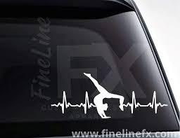 Gymnast Gymnastics Ekg Heartbeat Vinyl Decal Sticker