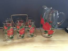 6 vintage federal drinking glasses w