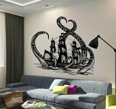 Vinyl Wall Decal Octopus Kraken Ship Nautical Ocean Teen Room Stickers Ig3640 Ebay