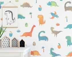 Dinosaur Wall Decals Wall Decor Decals Watercolor Dinosaur Nursery Decor Gift Boys Room Decor Girls Room Decor Reusable Wall Decals