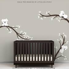 Baby Nursery Wall Decal White And Dark Brown Koala Tree Etsy