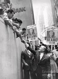 Mayoral candidate, Abraham Beame, greets his constituents. 1973 Photograph  by Anthony Calvacca