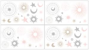 Celestial Pink And Gold Collection Peel And Stick Wall Decal Stickers Set Of 4 Sheets