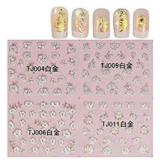 Amazon Com Kads Gold White 3d Decal Stickers Nail Art Manicure Tips Diy Decoration Rose 1 Pack 12 Design Beauty