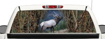 Buy Camo Elk Hunting Truck Suv Rear Window Graphic Decal Perforated Vinyl Wrap 22x66 In Cheap Price On Alibaba Com