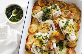 Baked fish with salsa verde and ...