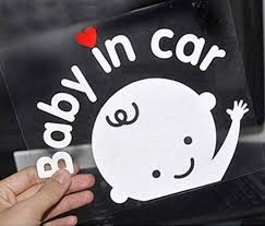 Amazon Com Baby In Car Waving Sticker Baby On Board Sign For Car Kids In Car Decal Sticker Safety Sign Cute Car Decal Vinyl Car Sticker 2x Boy Sticker Kitchen Dining