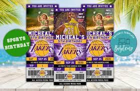 Boleto De Cumpleanos Editable De Kobe Bryant Los Angeles Lakers