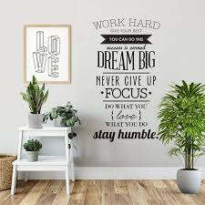 Work Hard Dream Big Vinyl Wall Sticker Decal Home Decor Tiptophomedecor