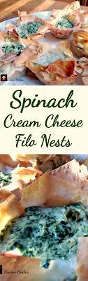 spinach cream cheese filo nests