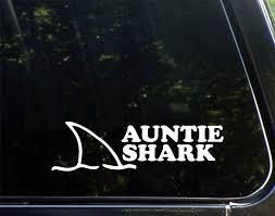 Amazon Com Diamond Graphics Auntie Shark 8 3 4 X 2 1 2 Die Cut Decal Bumper Sticker For Windows Cars Trucks Laptops Automotive