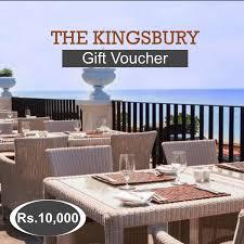 kingsbury hotel gift voucher rs 10000