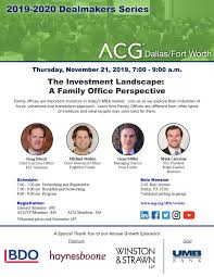 2019 Dallas Dealmakers November Breakfast Program | ACG Dallas/Fort Worth
